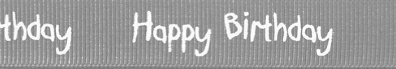 SR1220/012 Ribbon 16mm 20mtr happy birthday silver grey