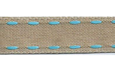 SR1221/01 Ribbon 16mm natural with stitching edge 01 light blue 20mtr