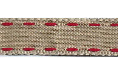 SR1221/05 Ribbon 16mm natural with stitching edge 05 red 20mtr