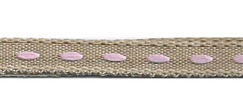 SR1222/03 Ribbon 6mm natural with stitching center 20mtr pink