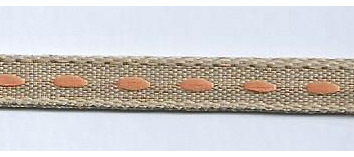 SR1222/04 Ribbon 6mm natural with stitching center 20mtr orange