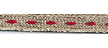SR1222/05 Ribbon 6mm natural with stitching center 20mtr red