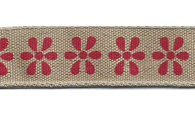 SR1223/01 Ribbon 16mm natural with printed flowers 20mtr red