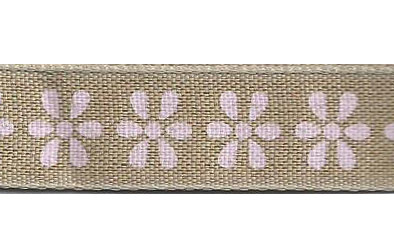 SR1223/03 Ribbon 16mm natural with printed flowers 20mtr pink