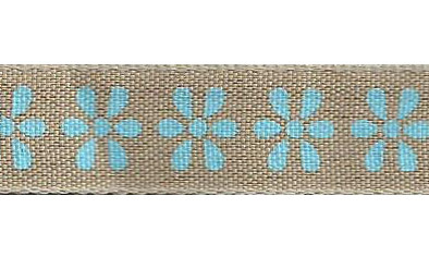 SR1223/04 Ribbon 16mm natural with printed flowers 20mtr light blue