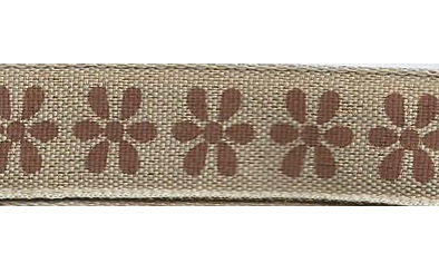SR1223/06 Ribbon 16mm natural with printed flowers 20mtr brown