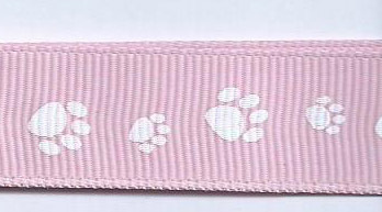 SR1224/02 Ribbon pink/printed paw white 16mm rol 20mtr