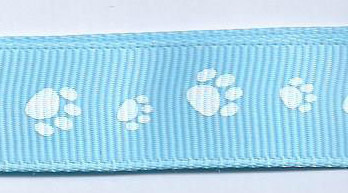 SR1224/04 Ribbon light blue/printed paws white 16mm 20mtr