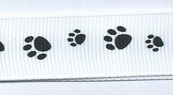 SR1224/06 Ribbon white/printed paws black 16mm 20mtr