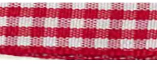SR1403/10 250 Gingham Ribbons 10mm 20mtr red