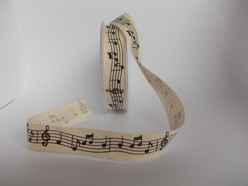SR1407/ivory Natural Ribbon 20mm Music Notes 20mtr