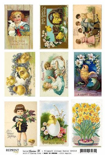 KP0019 Vintage Toppers A4 Easter