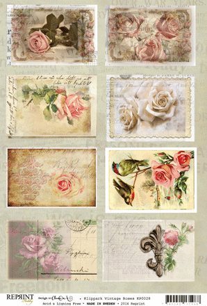 KP0028 Vintage Toppers A4 Roses