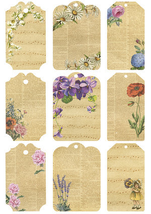 KP0038 Vintage Toppers A4 Cutouts Flower Tags