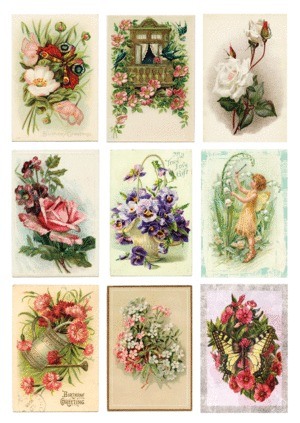 KP0044 Vintage Toppers A4 Cutouts Flowers