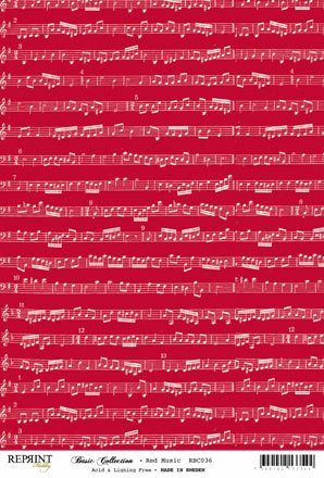 RBC036 Basic Collection A4 200gr Red Music