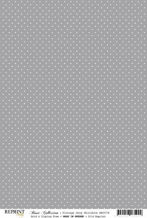 RBC074 Basic Collection A4 200gr Vintage Grey Mini Dots