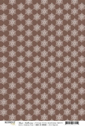 RBC076 Basic Collection A4 200gr Vintage Brown Snowflakes