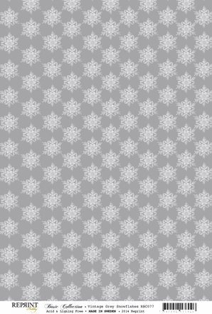 RBC077 Basic Collection A4 200gr Vintage Grey Snowflakes