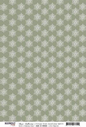 RBC079 Basic Collection A4 200gr Vinatge Green Snowflakes