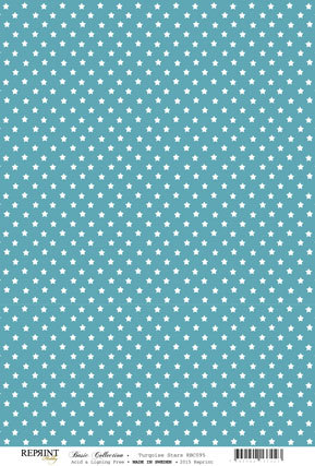 RBC095 Basic Collection A4 200gr Turquoise stars