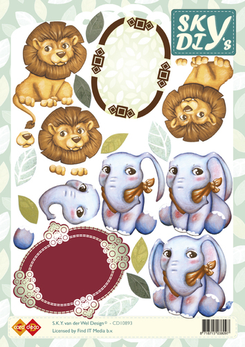CD10893 3D Knipvel - Sky - Lion and Elephants