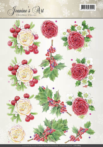 CD10884 3D Knipvel - Jeaninnes Art - Christmas Classics - Rose