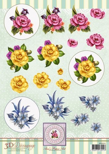 APA3D015 3D Decoupage Sheet Flower Circles