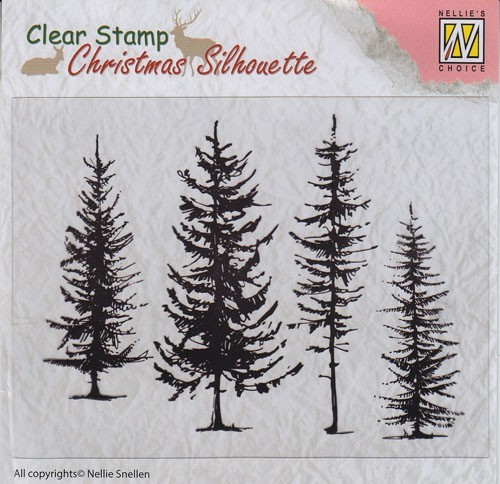 "CSIL004 Christmas Silhouette Clear stamps ""pine trees"""