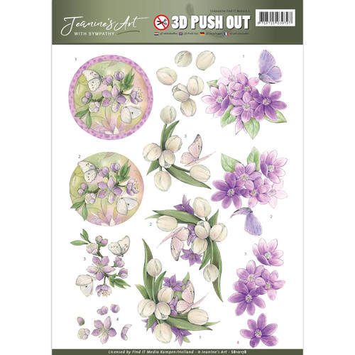 SB10178 Pushout - Jeaninnes Art - With Sympathy - violet flowers