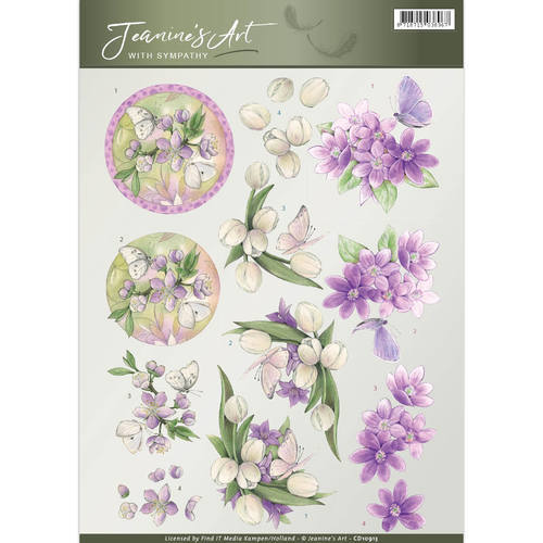 CD10913 3D Knipvel - Jeanine's Art - With Sympathy - Violet flowers