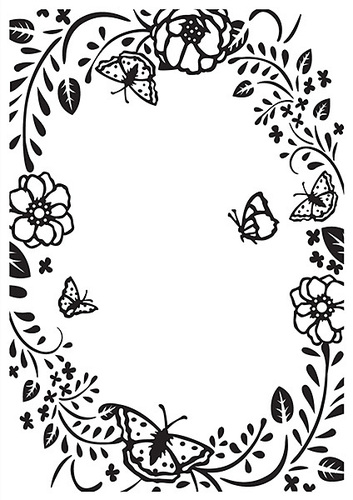 HSF016 Embossing folder flower rectangle frame