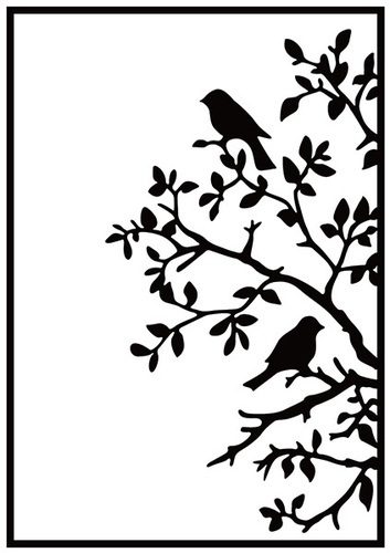 HSF017 Embossing folder birds on branch