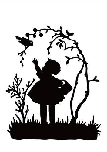 HSF018 Embossing folder little girl with bird
