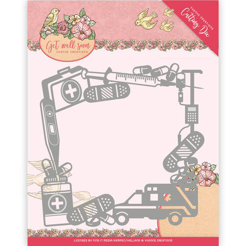 YCD10100 Die - Yvonne Creations - Get Well Soon - Get Well Frame