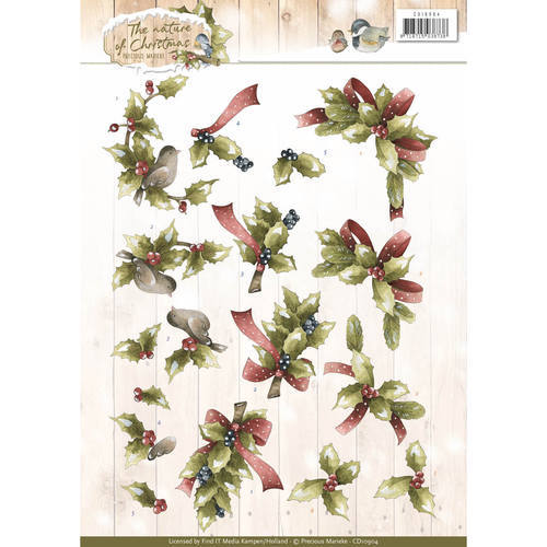 CD10904 3D Knipvel - Precious Marieke - The Nature of Christmas - Christmas Holly