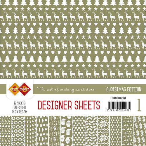 CDDSOG001 Card Deco - Designer Sheets - Christmas Edition - olijfgroen