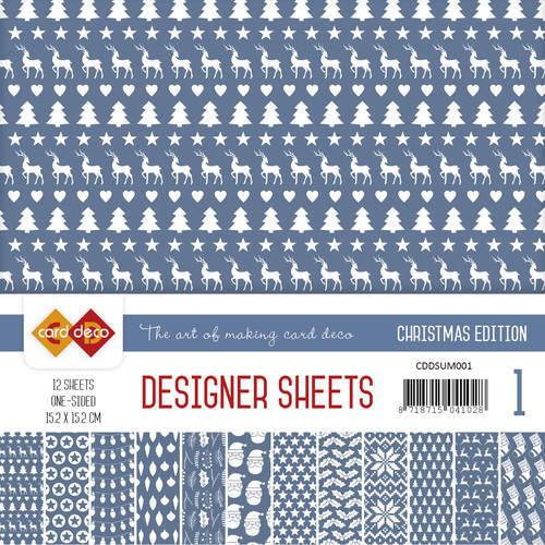 CDDSUM001 Card Deco - Designer Sheets -  Christmas Edition - ultramarijn