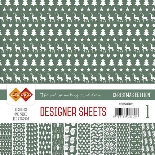 CDDSKG001 Card Deco - Designer Sheets -  Christmas Edition - kerstgroen
