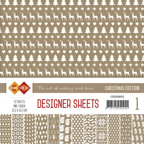 CDDSKB001 Card Deco - Designer Sheets -  Christmas Edition - koffiebruin