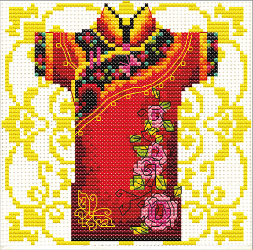 140.022 No-Count Cross Stitch Kits Male Geisha Rose 12x12cm
