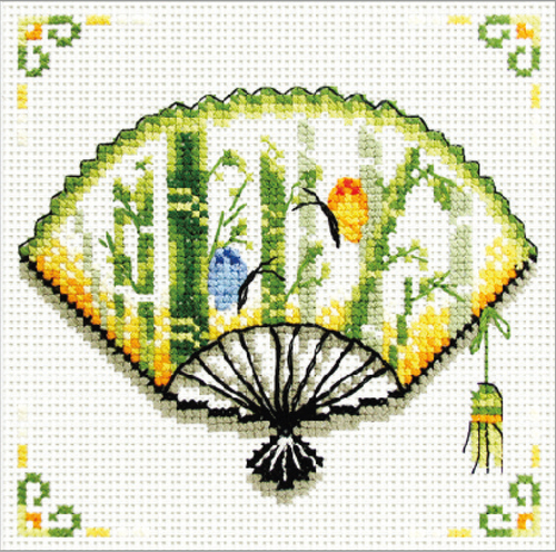 140.028 No-Count Cross Stitch Kits Bamboo Fan 12x12cm