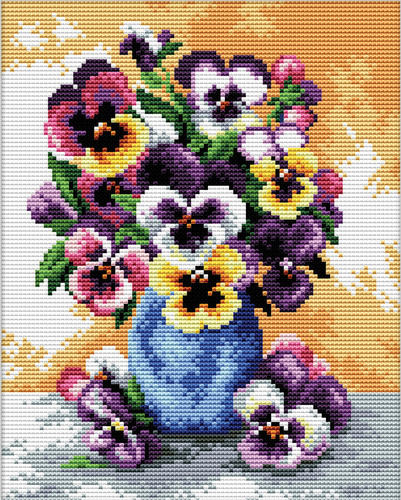 240.054 No-Count Cross Stitch Kits Vase of Pansies 17x22cm
