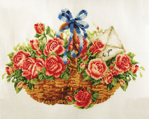 340.033 No-Count Cross Stitch Kits Basket of Roses 38x25cm