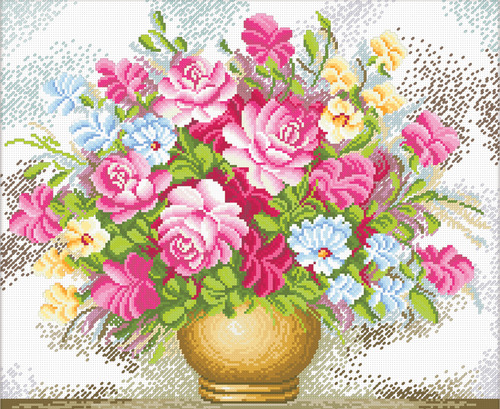 440.008 No-Count Cross Stitch Kits Vase of Flowers 39x32cm