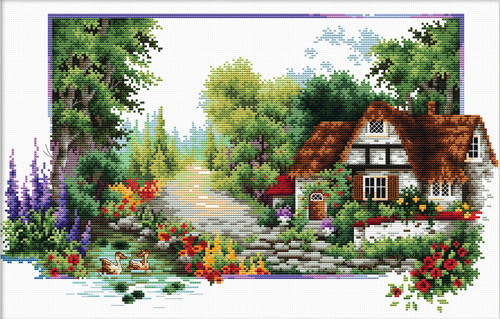 440.042 No-Count Cross Stitch Kits English Cottage Stream 40x24cm
