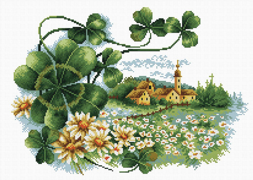 440.063 No-Count Cross Stitch Kits Scenery Clover 35x25cm