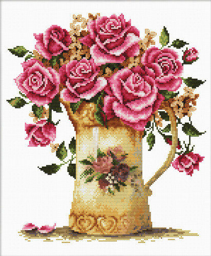 440.092 No-Count Cross Stitch Kits Antique Flower Vase 34x37cm
