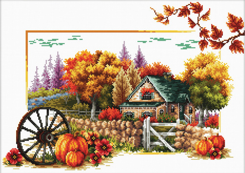 540.043 No-Count Cross Stitch Kits Autumn Farm 50x37cm
