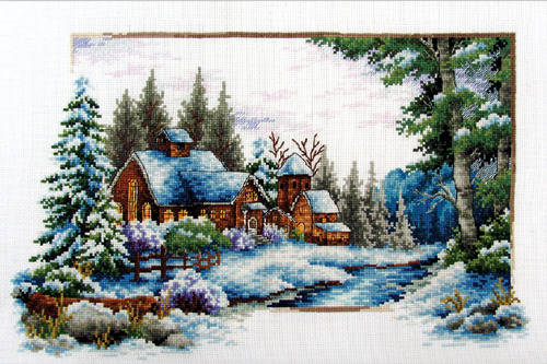 540.044 No-Count Cross Stitch Kits Winter Snow 39x25cm